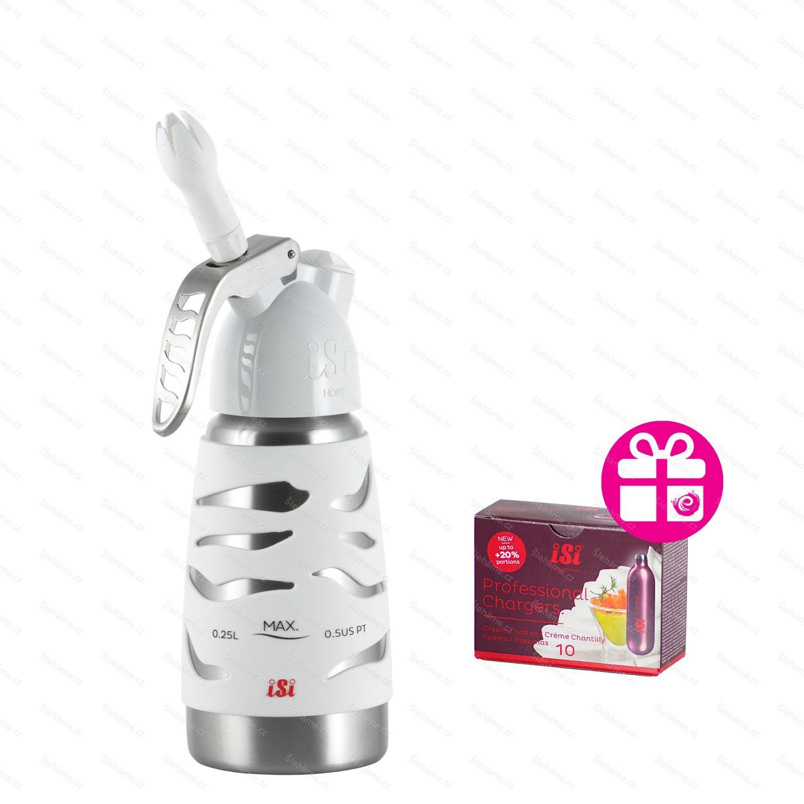 Šlehačková láhev iSi DESSERT WHIP PLUS 0.25 l, bílá
